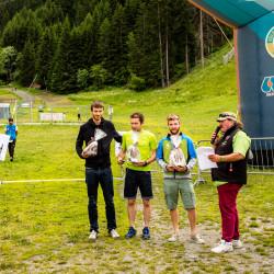 Premiazioni uomini_a partire da sinistra Nadir Vuillermoz_Flavio Gadin_Mathias Trento_La Thuile Trail_La Thuile 2016